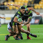 Vince Aso  tackled during the Super Rugby union game between Hurricanes and Sunwolves, played at Westpac Stadium, Wellington, New Zealand on 27 April 2018.   Hurricanes won 43-15.