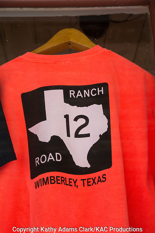 Shirt with Ranch Road 12 road sign on the front.  Ranch Road 12 passes through the heart of Wimberley, Texas.