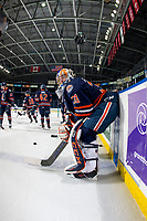 KELOWNA, BC - FEBRUARY 23: Dylan Ferguson #31 of the Kamloops Blazers leans on the boards at the bench during warm up against the Kelowna Rockets at Prospera Place on February 23, 2019 in Kelowna, Canada. (Photo by Marissa Baecker/Getty Images)