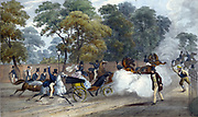 Attempted assassination of Queen Victoria (1819-1901). On the evening of Wednesday 10 June 1840 Victoria and Prince Albert were travelling in a carriage along Constitution Hill near Buckingham Palace, London, when Edward Oxford fired a pistol at the Queen.  Hand-coloured lithograph.