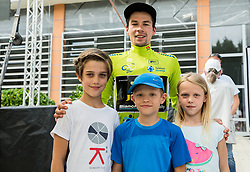 Primoz Roglic of Team Lotto NL Jumbo, Stage winner and winner in Overall classification with fans after the trophy ceremony after the 5th Time Trial Stage of 25th Tour de Slovenie 2018 cycling race between Trebnje and Novo mesto (25,5 km), on June 17, 2018 in  Slovenia. Photo by Vid Ponikvar / Sportida