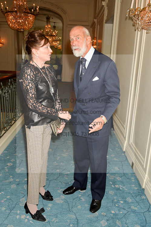 DORRIT MOUSSAIEFF and HRH PRINCE MICHAEL OF KENT at a party to celebrate the publication of The Romanovs 1613-1918 by Simon Sebag-Montefiore held at The Mandarin Oriental, 66 Knightsbridge, London on 2nd February 2016.