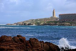 SPAIN GALICIA LA CORUNA 26AUG11 -  View of the coastline and the Torre de Hercules on the coast of La Coruna Galicia Spain.....jre/Photo by Jiri Rezac....© Jiri Rezac 2011