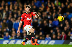 Man Utd Midfielder Michael Carrick (ENG) in action during the match - Photo mandatory by-line: Rogan Thomson/JMP - Tel: 07966 386802 - 19/01/2014 - SPORT - FOOTBALL - Stamford Bridge, London - Chelsea v Manchester United - Barclays Premier League.