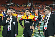 Rugby Football Union Vice President Bryan Williams and Mils Muliaina and Chiefs Chairman Dallas Fisher during the post game presentation to Mils Muliaina for his 100th game after the Investec Super 15 Rugby match, Chiefs v Stormers, at Waikato Stadium, Hamilton, New Zealand, Saturday 14 May 2011. Photo: Dion Mellow/photosport.co.nz