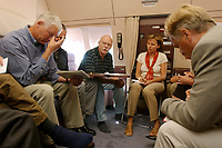 """10 AUG 2003, BERLIN/GERMANY:<br /> Peter Struck (M), SPD, Bundesverteidigungsminister,  barfuss in Socken, waehrend einem Hintergrundgespraech mit Journalisten,im Konferenzraum eines Airbus A310 """"Konrad Adenauer"""" der Flugbereitschaft der Bundesluftwaffe waehrend einem Flug von Berlin nach Usbekistan<br /> IMAGE: 20030810-01-015<br /> KEYWORDS: Bundeswehr, Streitkraefte, Streitkräfte, Praesidentenmaschine, Präsidentenmaschine, Luftwaffe, Airforce No 1, Flugzeug, Plane, Journalist, Pressekonferenz, Gespraech, Gespräch,"""