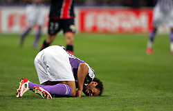 Daniel Omoya Braaten goes down injured. Toulouse v Paris St Germain,French Ligue 1, Stade Municipal, Toulouse, France, 22nd March 2009.
