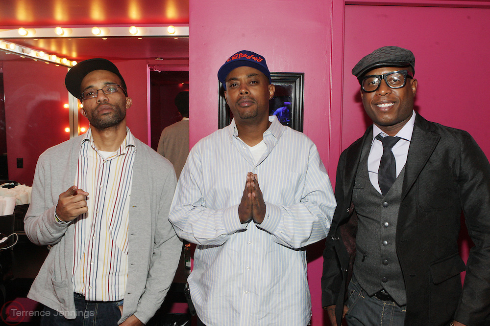 New York, NY- December 4: l to r: DJ J-Rocc, Balawa Mason and Talibe Kweli backstage at the Back Star Concert held at the Best Buy Theater on December 4, 2011 in New York City. Photo Credit: Terrence Jennings