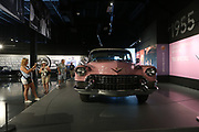 Pink  car belonging to Elvis Presley is in the museum near Graceland Mansion, Memphis, Tennessee which is on the National Register of Historic Places.