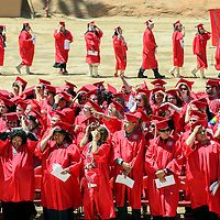 051914  Adron Gardner/Independent<br /> <br /> Lobos hold on to their hats as the wind blows through the crowd during University of New Mexico graduation at Red Rock Park Monday.