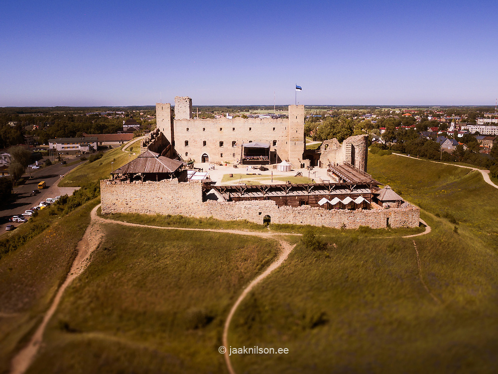 Old Rakvere castle in Estonia. Stronghold, hill. Pathway, fort, walls.