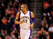 Jan. 8, 2012; Phoenix, AZ, USA; Phoenix Suns forward Grant Hill (33) reacts on the court while playing against the Milwaukee Bucks at the US Airways Center. The Suns defeated the Bucks 109-93. Mandatory Credit: Jennifer Stewart-US PRESSWIRE..