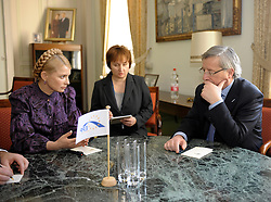 Jean-Claude Juncker, Luxembourg's prime minister, right, meets with Yuliya Tymoshenko, Ukraine's prime minister, during the European People's Party (EPP) meeting, Thursday, March 19, 2009, in Brussels, Belgium. (Photo © Jock Fistick)