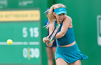 NOTTINGHAM, ENGLAND - JUNE 15: Katie Boulter of Great Britain in action against Ashleigh Barty of Australia during Day Seven of the Nature Valley Open at Nottingham Tennis Centre on June 15, 2018 in Nottingham, United Kingdom. (Photo by James Wilson/MB Media/Getty Images)