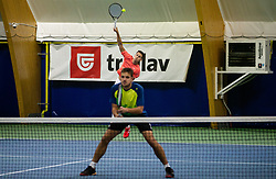 Aljaz Jakob Kaplja and Bor Muzar Schweiger playing final match during Slovenian men's doubles tennis Championship 2019, on December 29, 2019 in Medvode, Slovenia. Photo by Vid Ponikvar/ Sportida
