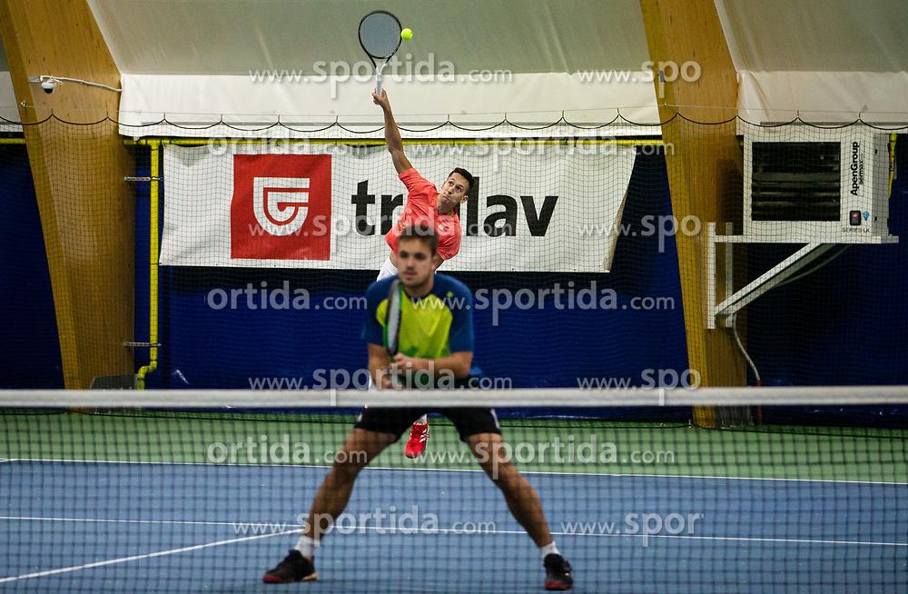 Aljaz Jakob Kaplja and Bor Muzar Schweiger playing final match during Slovenian men's doubles tennis Championship 2019, on December 29, 2019 in Medvode, Slovenia. Photo by Vid Ponikvar/ Sportida