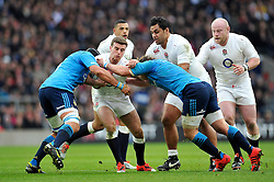 George Ford of England is tackled - Photo mandatory by-line: Patrick Khachfe/JMP - Mobile: 07966 386802 14/02/2015 - SPORT - RUGBY UNION - London - Twickenham Stadium - England v Italy - Six Nations Championship