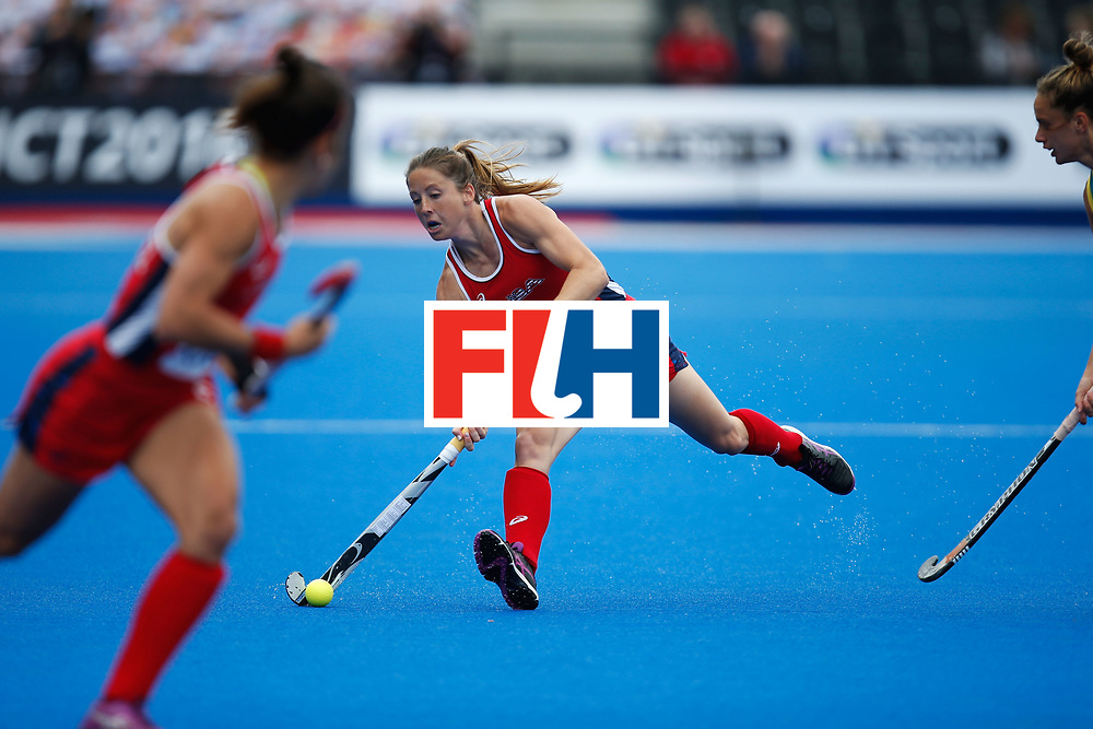 LONDON, ENGLAND - JUNE 18:  Julia Reinprecht of the USA plays a pass during the FIH Women's Hockey Champions Trophy 2016 match between United States and Australia at Queen Elizabeth Olympic Park on June 18, 2016 in London, England.  (Photo by Joel Ford/Getty Images)
