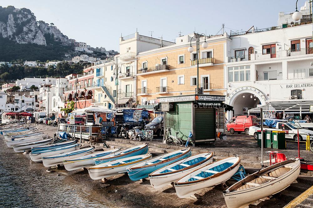 04 August 2017, Capri Italy - Small boats on the shore of Marina Grande on Capri Island.