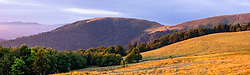 Panorama view of forest landscape with Mountains in backgrounds, Stosswihr, Vosges, France