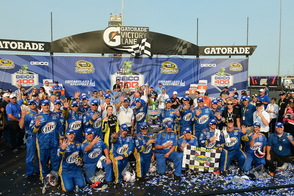 Joliet, IL - SEP 16, 2012: Brad Keselowski (2) wins the Geico 400 at the Chicagoland Speedway in Joliet, IL.