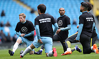 Football - 2016 / 2017 Premier League - Manchester City vs. Chelsea<br /> <br /> Fernandinho and Sergio Aguero of Manchester City warm up wearing t-shirts of support for Brazil's Chapecoense after the air crash in Columbia at The Ethiad.<br /> <br /> COLORSPORT/LYNNE CAMERON