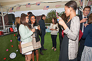 EVA RAMIREZ ; LOTTIE-DAISY FRANCES; ALICE CASELY-HAYFORD; Charlie Gilkes and Duncan Stirling host Inception Group's Hamptons Garden party on the rooftop garden of the Ballymore marketing suite overlooking the site of the new US embassy. Embassy Gardens, London SW8.  12 July 2012.