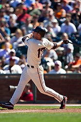 May 30, 2010; San Francisco, CA, USA;  San Francisco Giants first baseman Aubrey Huff (17) hits a one run home run against the Arizona Diamondbacks during the eighth inning at AT&T Park.