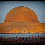Buddhist monks gather to pray for world peace at Wat Dhammakaya , Feb. 18, 2010, in Bangkok, Thailand.