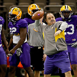 January 5, 2012; New Orleans, LA, USA; LSU Tigers defensive coordinator John Chavis works with the linebackers during practice for the 2012 BCS National Championship game to be played on January 9, 2012 against the Alabama Crimson Tide at the Mercedes-Benz Superdome.  Mandatory Credit: Derick E. Hingle-US PRESSWIRE