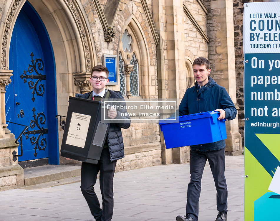Pictured: Leith Walk Council By-Election, Leith Walk,  Edinburgh, Scotland, 10 April 2019. Pictured:  Leith Walk. The City of Edinburgh Council's elections team, prepare for the Leith Walk by-election. Officers Jake & Ross set up for polling at one of the Ward polling stations at Pilrig St Paul's Church Hall and deliver the materials needed for the vote.  The by-election takes place on Thursday April 11.<br /> <br /> Sally Anderson   EdinburghElitemedia.co.uk