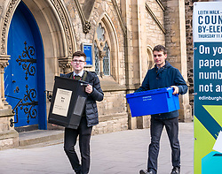 Pictured: Leith Walk Council By-Election, Leith Walk,  Edinburgh, Scotland, 10 April 2019. Pictured:  Leith Walk. The City of Edinburgh Council's elections team, prepare for the Leith Walk by-election. Officers Jake & Ross set up for polling at one of the Ward polling stations at Pilrig St Paul's Church Hall and deliver the materials needed for the vote.  The by-election takes place on Thursday April 11.<br /> <br /> Sally Anderson | EdinburghElitemedia.co.uk
