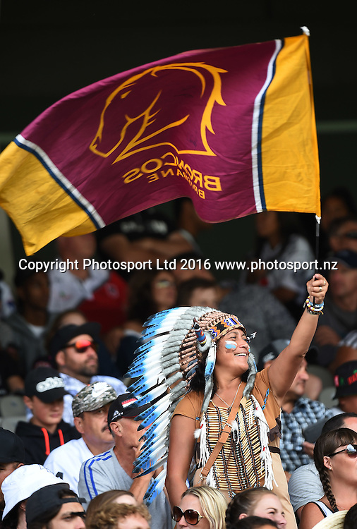 Broncos fans. NRL Auckland Nines  at Eden Park in Auckland, New Zealand. Saturday 6 February 2016. Copyright photo: Andrew Cornaga / www.photosport.nz