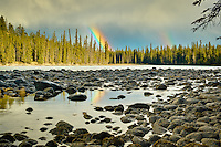 We camped at the Wabasso Campground near Jasper, which is right beside the Athabasca River. It rained every day we were there, which was unfortunate for many reasons, but also led to these incredible double rainbows over the river!..©2010, Sean Phillips.http://www.RiverwoodPhotography.com