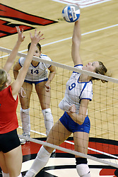 24 November 2006: Jessica Houts stretches high for a kill during a Quarterfinal match between the Illinois State University Redbirds and the Creighton University Bluejays. The Tournament was held at Redbird Arena on the campus of Illinois State University in Normal Illinois.<br />