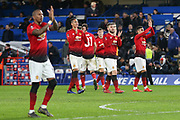 Manchester United players applaud the fans after victory, Manchester United Defender Chris Smalling Manchester United Defender Luke Shaw during the The FA Cup 5th round match between Chelsea and Manchester United at Stamford Bridge, London, England on 18 February 2019.
