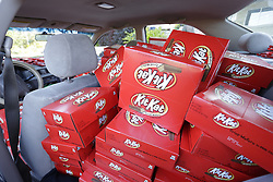 IMAGE DISTRIBUTED FOR THE HERSHEY COMPANY - The Kit Kat brand showed up at Kansas State University to give students a well-deserved break with nearly 6,500 Kit Kat bars, filling freshman student Hunter Jobbins&rsquo; car, Thursday, Nov. 3, 2016, in Manhattan, Kansas. (Colin E. Braley/AP Images for The Hershey Company)<br /> &nbsp;