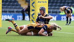 Lottie Holland of Bristol Ladies scores another try for her side against Worcester Valkyries - Mandatory by-line: Robbie Stephenson/JMP - 24/09/2016 - RUGBY - Sixways - Worcester, England - Worcester Valkyries v Bristol Ladies Rugby - RFU Women's Premiership