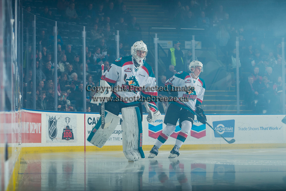 KELOWNA, CANADA - FEBRUARY 2: Brodan Salmond #31 of the Kelowna Rockets skates on the ice at the start of the game against the Everett Silvertips on FEBRUARY 2, 2018 at Prospera Place in Kelowna, British Columbia, Canada.  (Photo by Marissa Baecker/Shoot the Breeze)  *** Local Caption ***