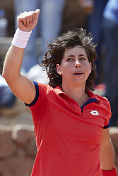 April 21, 2018 - La Manga, Murcia, Spain - Carla Suarez Navarro of Spain celebrates the victory in his match against Veronica Cepede Royg of Paraguay during day one of the Fedcup World Group II Play-offs match between Spain and Paraguay at Centro de Tenis La Manga Club on April 21, 2018 in La Manga, Spain  (Credit Image: © David Aliaga/NurPhoto via ZUMA Press)