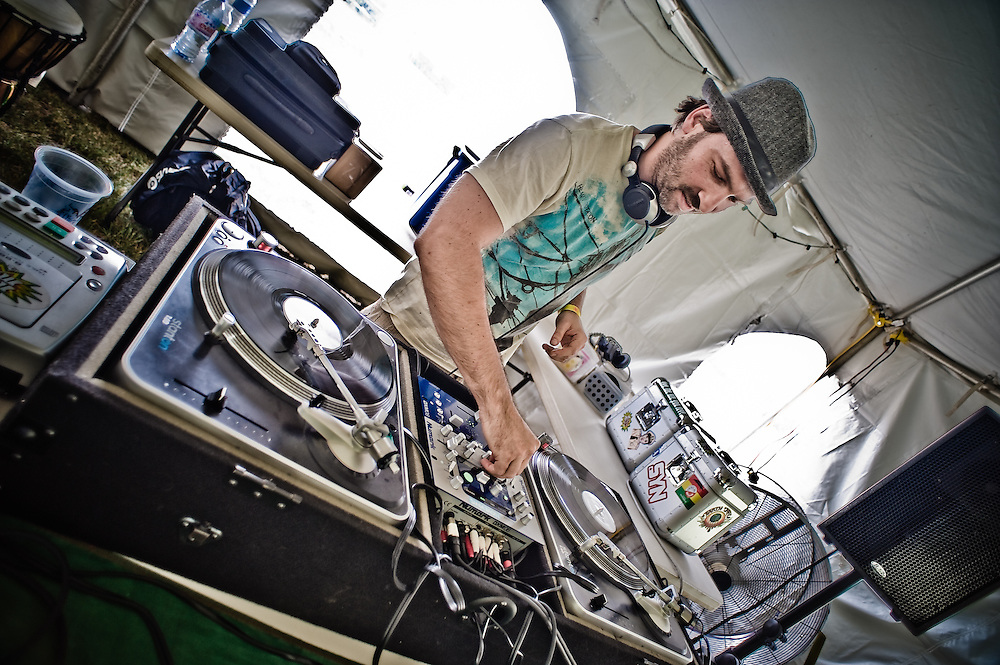 Thomas of the Ancient Astronauts holding down the dance tent.