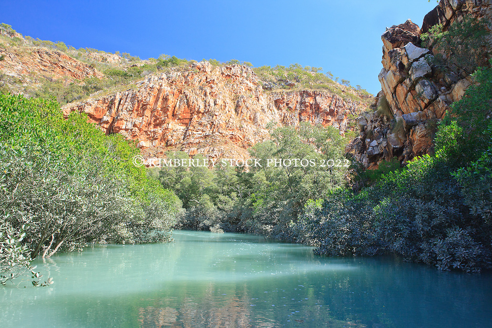 A remote and isolated coastal gorge in Dugong Bay in the Kimberley coast's Buccaneer Archipelago.