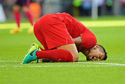 LONDON, ENGLAND - Saturday, August 6, 2016: Liverpool's Dejan Lovren injured during the International Champions Cup match against FC Barcelona at Wembley Stadium. (Pic by Xiaoxuan Lin/Propaganda)