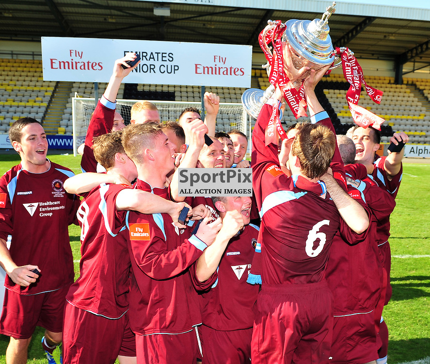 Shotts Bon Accord lift the cup..Auchinleck Talbot v Shotts Bon Accord, Emirates Junior Cup Final,  Sunday 27th May 2012..ALEX TODD | STOCKPIX.EU