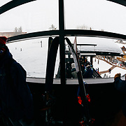 People line up on the tram dock during a monster winter storm at Jackson Hole Mountain Resort in Teton Village, Wyoming.