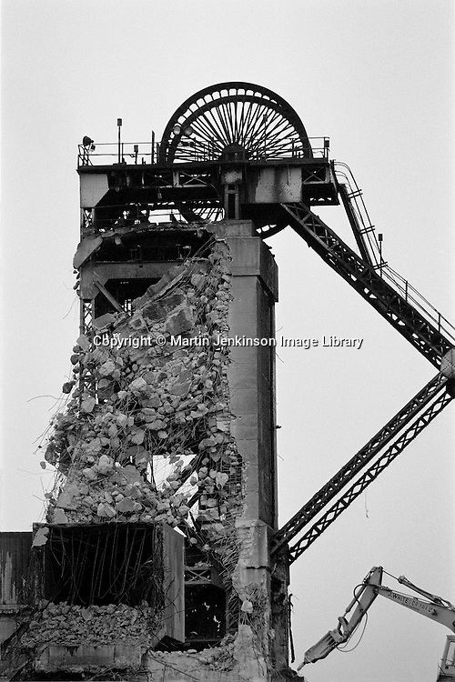 Demolition of pit headgear at  Askern Colliery in the Yorkshire coalfield. Jan 1993...&copy; Martin Jenkinson<br />