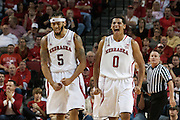November 8, 2013: Terran Petteway (5) and Tai Webster (0) of the Nebraska Cornhuskers are fired u from a play in the first half against the Florida Gulf Coast Eagles at the Pinnacle Bank Areana, Lincoln, NE. Nebraska defeated Florida Gulf Coast 79 to 55.