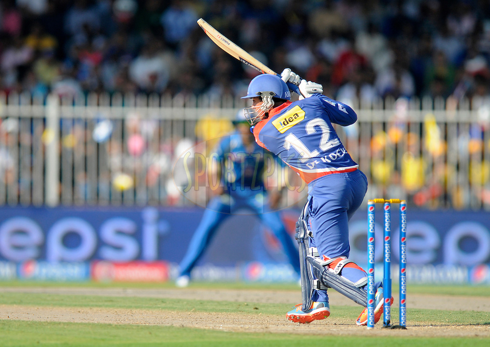 Quinton de Kock of the Delhi Daredevils bats during match 16 of the Pepsi Indian Premier League 2014 between the Delhi Daredevils and the Mumbai Indians held at the Sharjah Cricket Stadium, Sharjah, United Arab Emirates on the 27th April 2014<br /> <br /> Photo by Pal Pillai / IPL / SPORTZPICS