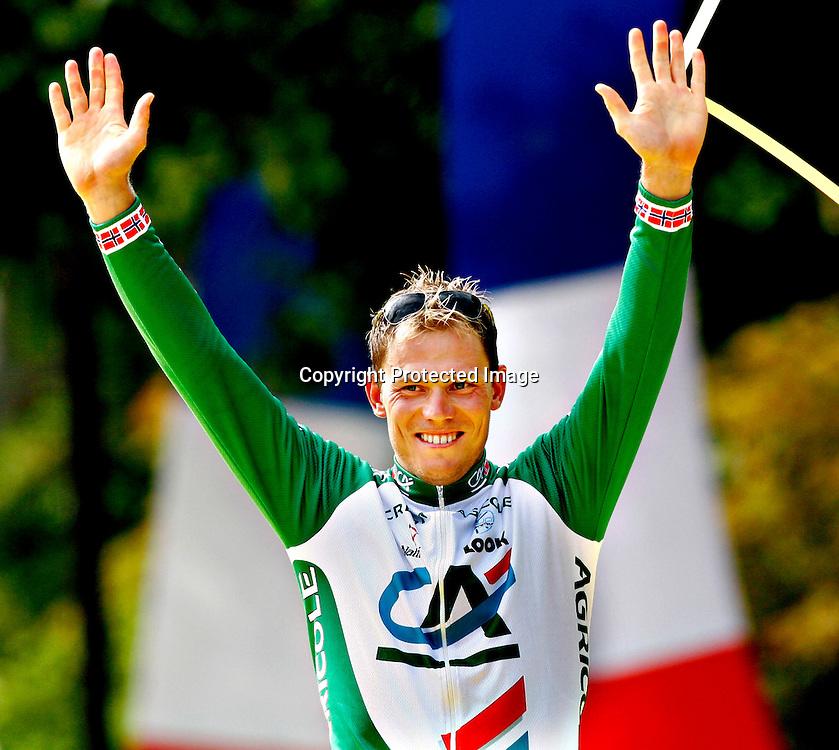 Paris, Frankrike 20050724 Tour de France : Thor Hushovd  etter Tour de France triumfen. Thor vant poengkonkurransen og fikk den grønne trøya...Foto: Daniel Sannum Lauten/ Dagbladet *** Local Caption *** Hushovd,Thor..