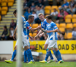 St Johnstone's Danny Swanson celebrates after scoring their first goal. Half time ; St Johnstone 2 v 0 Falkirk, Group B, Betfred Cup, played 23/7/2016 at St Johnstone's home ground, McDiarmid Park.